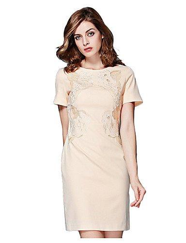 PU&PU Robe Aux femmes Gaine Vintage,Fleur Col Arrondi Au dessus du genou Coton / Polyester , navy blue-3xl , navy blue-3xl