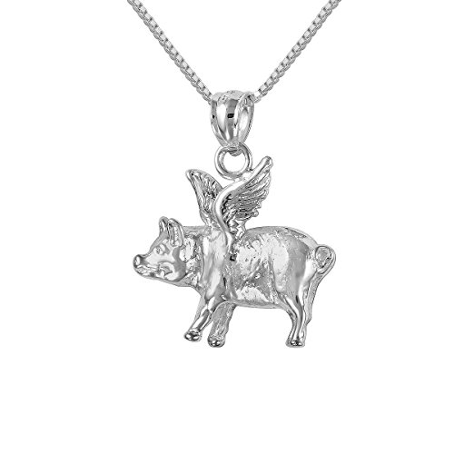 Sterling Silver Flying Pig Charm / Pendant, Made in USA, 18