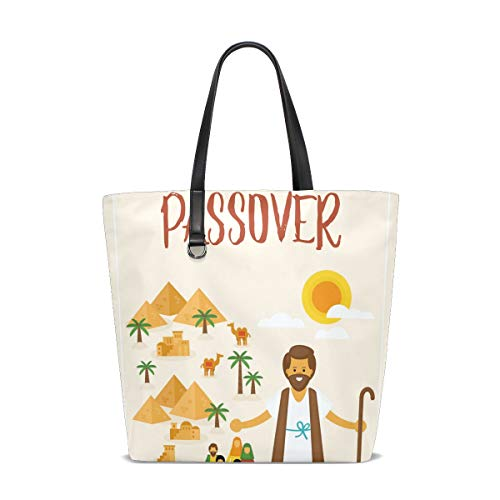 Happy Passover Moses Egypt Landscape Fashion Casual Tote Bag Shoulder Handbag for Women Girls