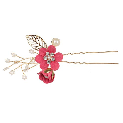 AMBER DAVIDSON Blue Flower Hair Combs Headdress Prom Bridal Wedding Hair Accessories Gold Leaves Hair Jewelry Hair Pins,Rose Red2