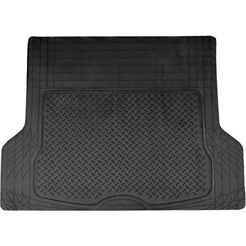 U.A.A. INC. New All Weather Solid Black Universal 1 Piece Car Van Truck SUV Large Rubber Cargo Trunk Mat