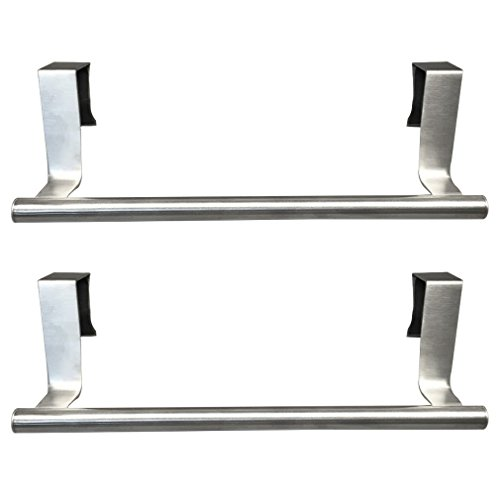 "Evelots Set of 2 Over Cabinet 9.1"" Towel Bars, Stainless Steel, Kitchen Bathroom"