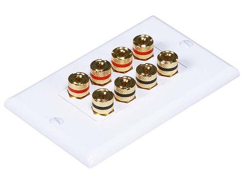 Monoprice 103326 Banana Binding Post Two-Piece Inset Coupler Wall Plate for 4 Speakers (Wall Banana)