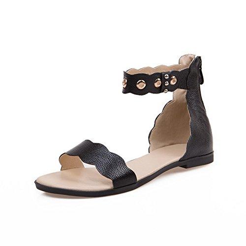 Amoonyfashion Kvinna Blixtlås Öppen Tå Ingen Häl Ko Läder Fasta Flats-sandaler Svart
