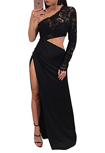 Sexy Slit (Dreamparis Women's Sexy Multi Wear One Shoulder Lace Patchwork Side Slit Evening Gown Full Formal dresses Large Black)