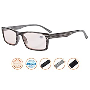 UV Protection,Reduce Eyestrain,Anti Blue Rays,Computer Gaming Reading Glasses(Grey,Amber Tinted Lenses) +2.5
