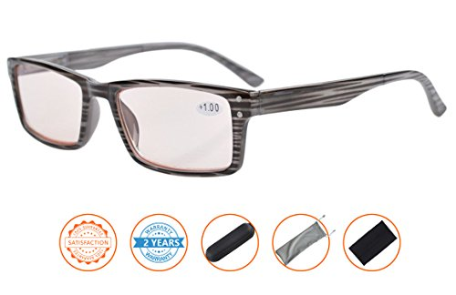 UV Protection,Reduce Eyestrain,Anti Blue Rays,Computer Gaming Reading Glasses(Grey,Amber Tinted Lenses) - Protection Uv With Glasses Reading