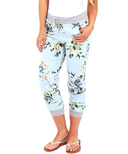 Coutgo Women's Casual Comfy Soft Stretch Floral Print Lounge Pants (by Coutgo) (L, Light-green) (Lounge Pants Jeans)