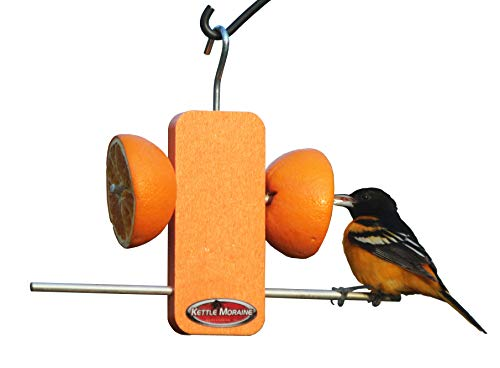 (Kettle Moraine Recycled Single Oriole Orange Fruit Stick Feeder)
