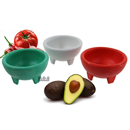 Molcajete 3pc Salsa Bowl for Guacamole Sauce Chips Deep Mexican - Ounce Bowl 5 Salsa