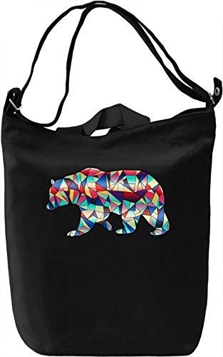 Geometric Bear Borsa Giornaliera Canvas Canvas Day Bag| 100% Premium Cotton Canvas| DTG Printing|