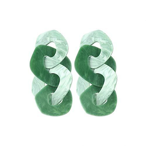 (Resin Drop Dangle Earrings Women Boho Wedding Party Pendant Earring Charm Jewelry Brinco Green)