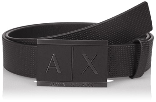 Armani Exchange Men's Leather Belt with Placque, nero/black, 28 (Belt Leather Armani)