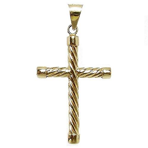 18k chatons ronds croix en or massif crucifix torsadées [5371]