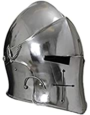 warrior point,Medival Barbuta Helmet Knights Templar Crusader Armour Helmet Silver