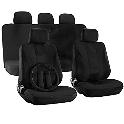 OxGord H Stripe 17 Piece Seat Covers with Steering Wheel Cover for Car, Truck, Suv and Van - Mesh Solid Flat Cloth (Black)