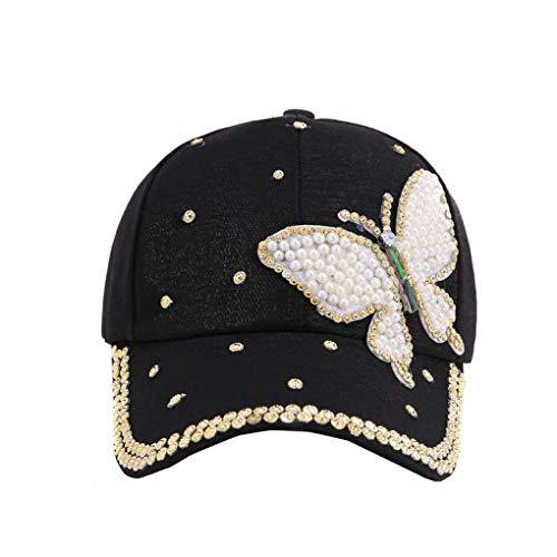 Gloryelenxs Summer Women Girls Rhinestone Pearl Studded Butterfly Baseball Cap Cotton Peaked Cap Sun Cap