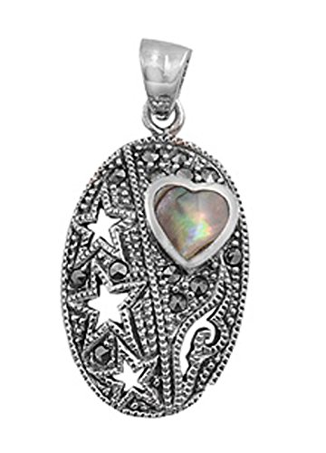 - Star Heart Pendant Simulated Abalone Marcasite .925 Sterling Silver Cutout Charm - Silver Jewelry Accessories Key Chain Bracelet Necklace Pendants