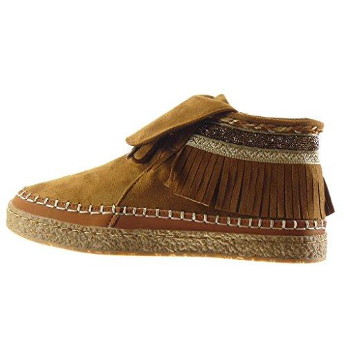 Angkorly - damen Schuhe Stiefeletten - Franse - fantasy - bestickt flache Ferse 2.5 CM - Camel
