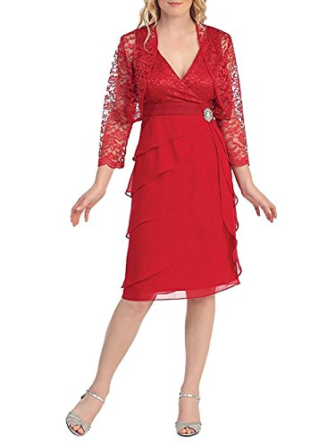 Chiffon Lace 2 Pieces Mother of the Bride Short Formal Gowns Dress with Jacket Red US2 Beading Sweetheart Neck Floor
