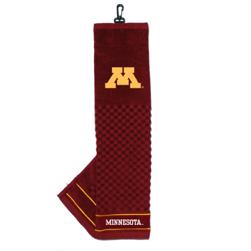 Team Golf NCAA Minnesota Golden Gophers Embroidered Golf Towel, Checkered Scrubber Design, Embroidered Logo