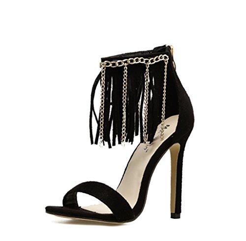 Ferse Damen Roman Shiny Hochzeit Toe Stilettos Knöchelriemen Style Pumps Sandalen Quaste Schuhe Peep High Heel Frauen 7qYTwRPn