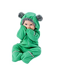 Infant Baby Toddler Boys Girls Winter Snowsuits Clothes 3-24 Months Cartoon Ears Hoodie Zip Romper Jumpsuit
