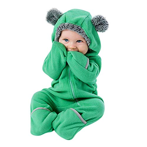 Clearance!!Toddler Infant Baby Girls Boys Cartoon Animals Romper Warm Hoodie Zipper Jumpsuit Party Costume Cosplay (Green, 12-18 -