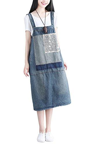 Blue Denim Jumper Dress - Soojun Women's Patchwork Floral Midi Denim Pinafore Overall Dress, Blue