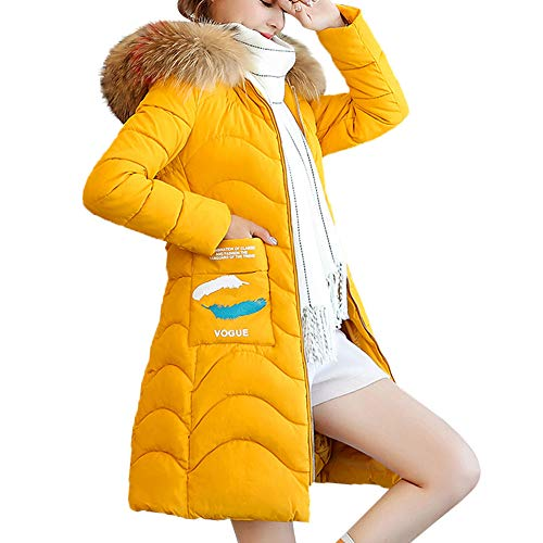 TOPUNDER Hooded Outwear Warm Coat Long Thicker Fur Collar Cotton Parka Slim Jacket Women Yellow