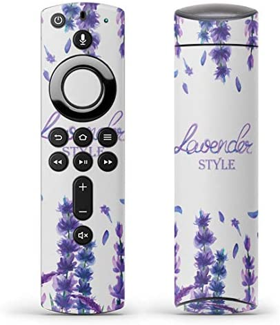 igsticker Fire TV Stick 第2世代 専用 リモコン用 全面 スキンシール フル 背面 側面 正面 ステッカー ケース 保護シール 014330 花 フラワー 紫