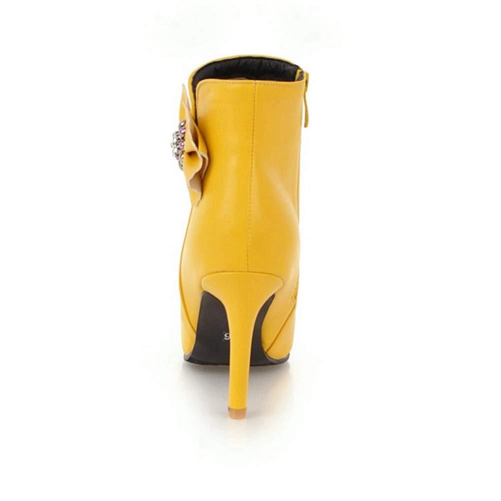Damen Fashion Schleifen Winter Stiefeletten Spitz Stiletto Strass Reißverschluss Leder Leder Leder Kurze Stiefelie  7c3481