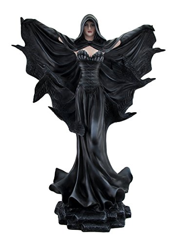 Zeckos Resin Statues Onyx The Sorceress Of Harbinger Hill Gothic Black Raven Witch Statue 22 Inch 18.5 X 22 X 8 Inches Black
