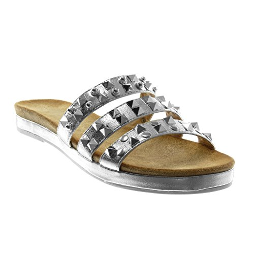 Angkorly Damen Schuhe Sandalen Mule - Slip-On - Multi-Zaum - Nieten - Besetzt - Glänzende Blockabsatz 2.5 cm Silber
