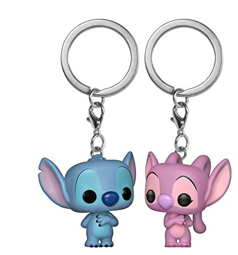 Funko Pop! Keychain: Lilo & Stitch & Angel 2 Pack Toy, Multicolor -