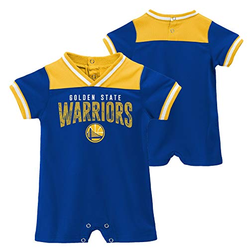 Nba Baby Romper - Outerstuff Officially Licensed NBA Golden State Warriors Baby Runback Romper, 0-3 Months