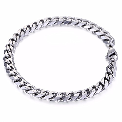 Trendsmax 7mm Mens Boys Chain Silver Tone Stainless Steel Curb Cuban Link Chain Bracelet 7inch ()