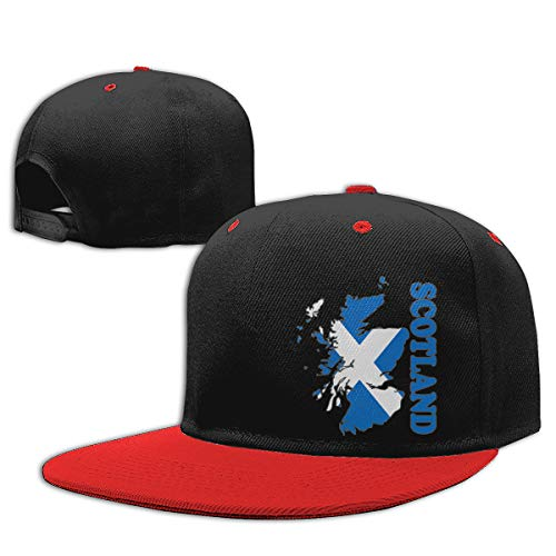 - KID75CAP Boys and Girls Baseball Cap Scotland Flag Map Adjustable Hip Hop Hat Red