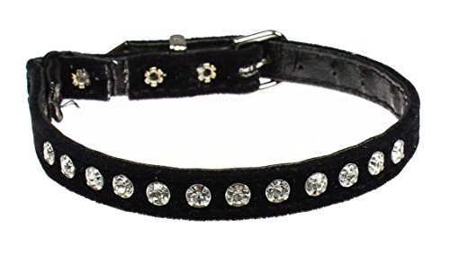 Jeweled Cat Safety Collar - Evans Collars Jeweled Cat Safety Collar with Elastic, Size 14, Velvet, Black