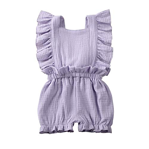 ZAXARRA Toddler Baby Girl Ruffle Loose Jumpsuit Romper Overalls Short Pants Clothes Outfits