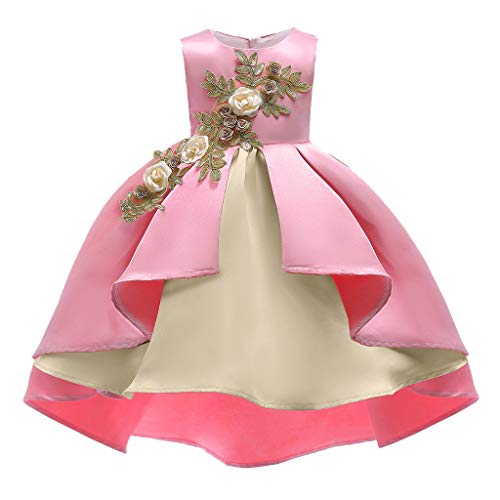 kaifongfu Kids Sleeveless Dress Flowers Irregular Front Short Skirt Tutu Princess Dress Birthday Party Wedding Dress(Pink,100)