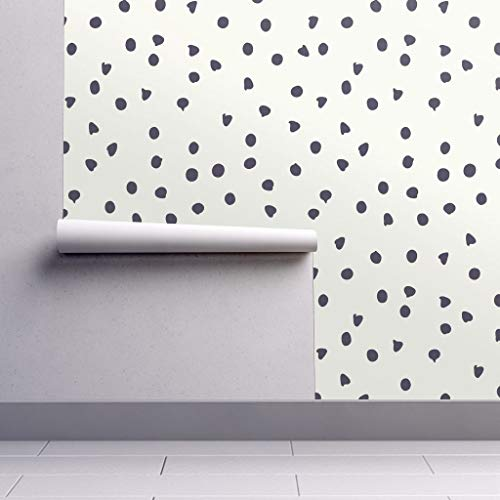 White Polka Dots Wallpaper - Removable Water-Activated Wallpaper - Chocolate Chip Abstract Polka Dots Polka Dot Black Trendy Chocolate Nursery by Fleurpaperco - 24in x 60in Smooth Textured Water-Activated Wallpaper Roll