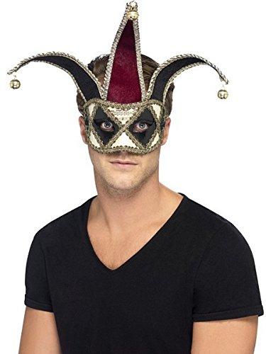 Smiffy's Unisex Venetian Harlequin Eye mask, Red and Black, One Size, -