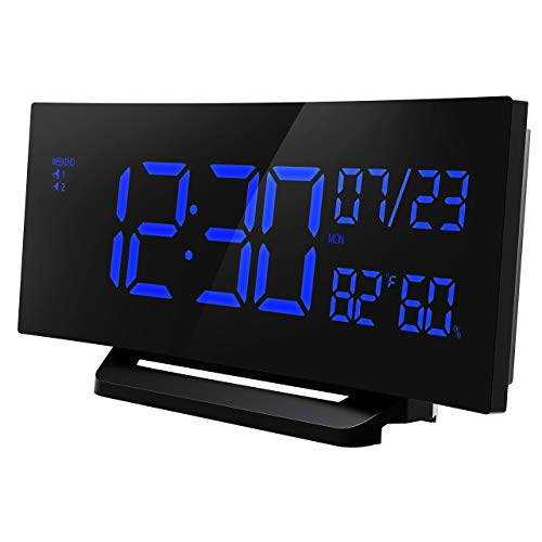 Mpow Alarm Clock Temperature, 6.5'' Curved-Screen Digital Alarm Clock, Dual Alarm with 3 Changeable Sounds, Weekday Alarm Clock with Humidity for Home, Office by Mpow