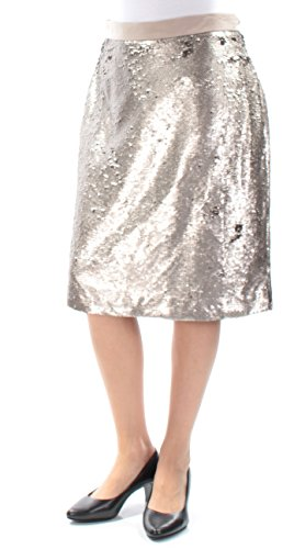 Maison Jules Womens Sequined Straight Pencil Skirt 4 Solid Gold Combo