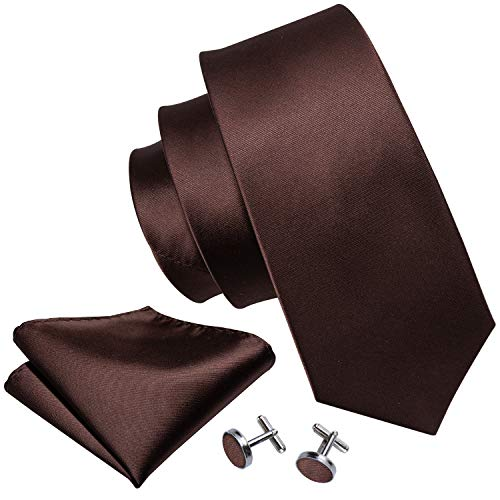 - Khaki Ties Satin Silk Necktie Handkerchief Cufflinks Coffee Brown