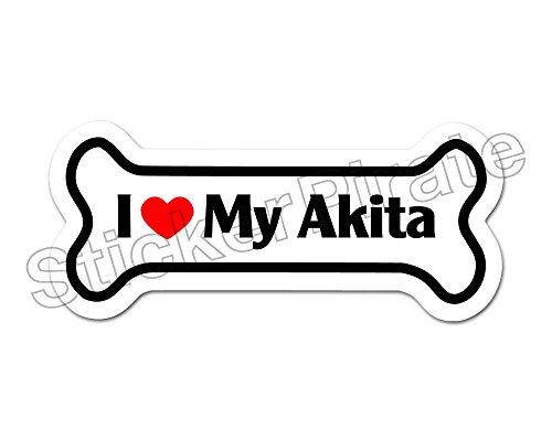 *Dog Bone Magnet* I Love My Akita Car Truck Locker (Akita Sticker)