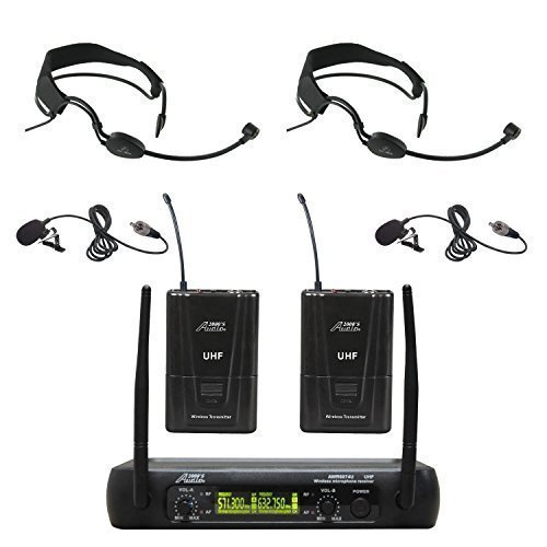 Audio 2000s AWM6074UF Dual Channel UHF Wireless Microphone System with 2 Headband Headsets & 2 Lapel Lavalier Microphone by Audio 2000S