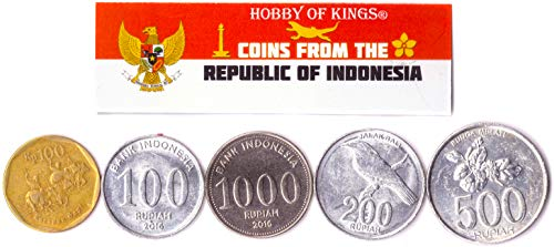 Hobby of Kings Different Coins - Old, Collectible Indonesian Foreign Currency for Collecting Book - Unique, Commemorative World Money Sets - Gifts for Collectors - Collection of 5