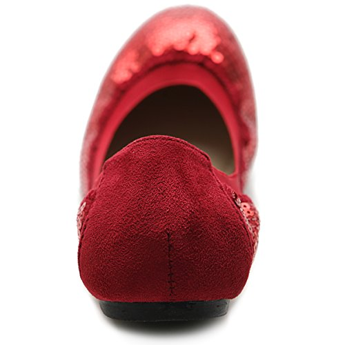 Shoe Ollio Spangle Color Comfort Women's Multi Flat Ballet Red g5XOq5